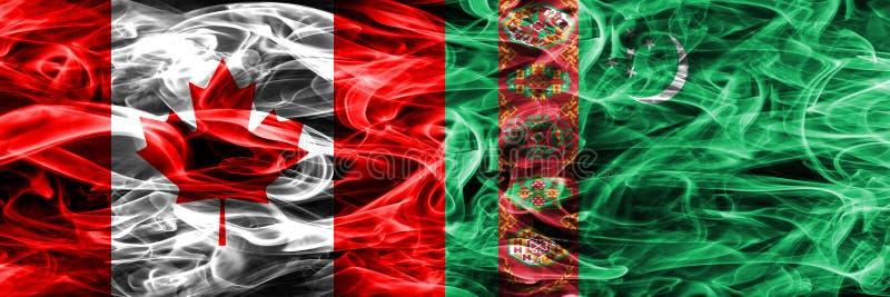 Канада против дыма Туркменистана сигнализирует помещенную сторону - мимо - сторона канадско иллюстрация вектора