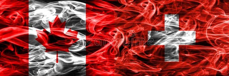 Канада против дыма Швейцарии сигнализирует помещенную сторону - мимо - сторона канадско бесплатная иллюстрация