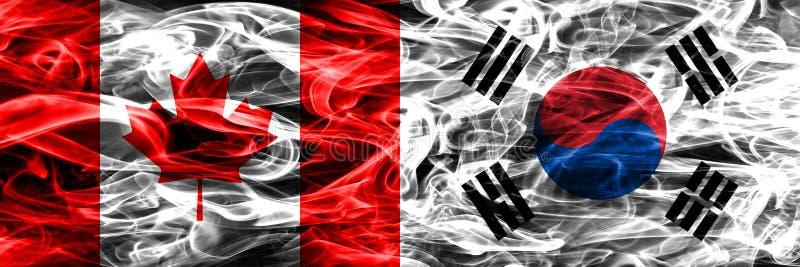 Канада против дыма Южной Кореи сигнализирует помещенную сторону - мимо - сторона канадско иллюстрация штока