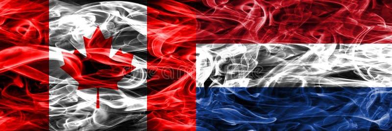 Канада против нидерландского дыма сигнализирует помещенную сторону - мимо - сторона канадско бесплатная иллюстрация