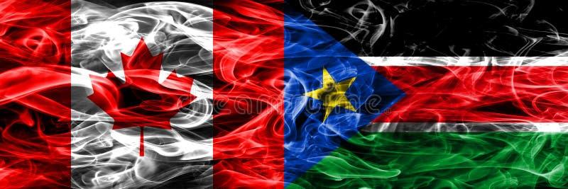 Канада против южного дыма Судана сигнализирует помещенную сторону - мимо - сторона канадско иллюстрация вектора