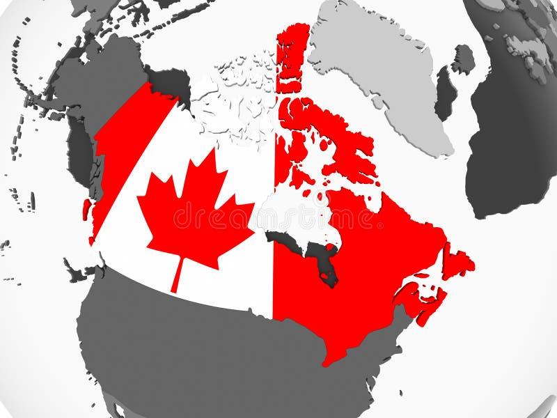 Канада с флагом на глобусе бесплатная иллюстрация