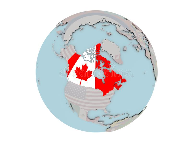 Канада с флагом на глобусе иллюстрация штока