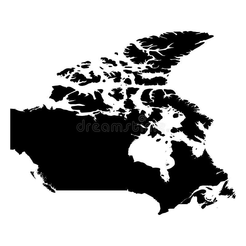 Канада - твердая черная карта силуэта района страны Простая плоская иллюстрация вектора иллюстрация вектора