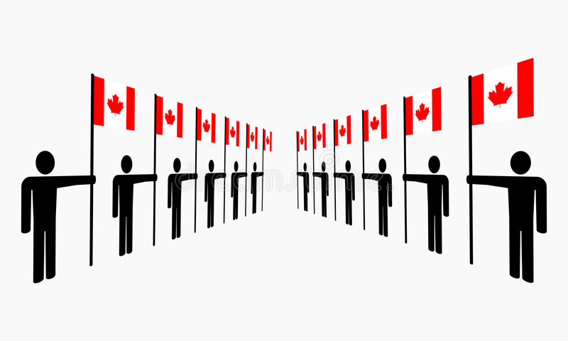 канадские флаги держа людей иллюстрация вектора