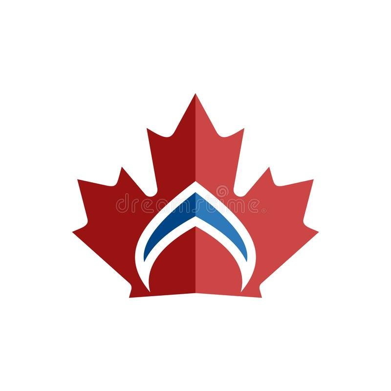 Канадский логотип элемента символа кроны лист иллюстрация вектора