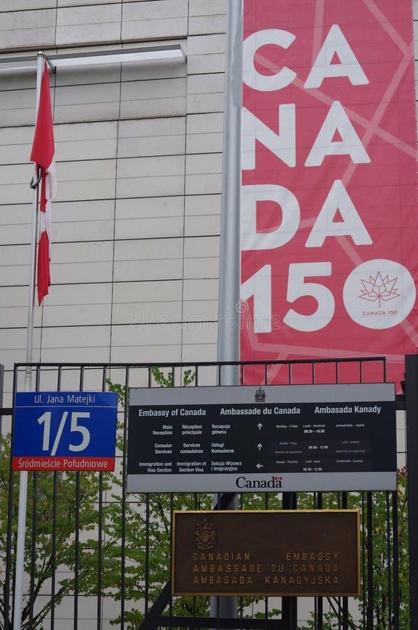Канадское посольство в Варшаве, Польше стоковая фотография