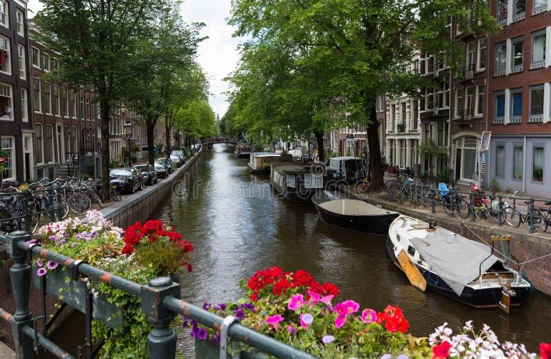 Канал Амстердама с цветками стоковое изображение