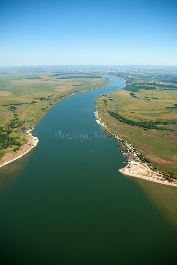 Канал навигации порта города Pelotas стоковая фотография rf