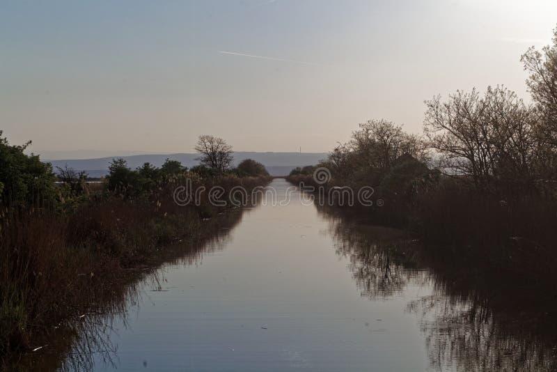 Канал на южный допустимый предел озера Neusiedler видит стоковое фото