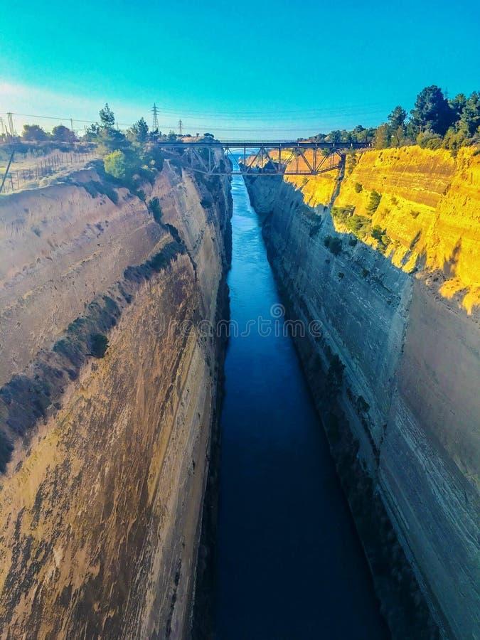 Канал Korinthos стоковые фотографии rf