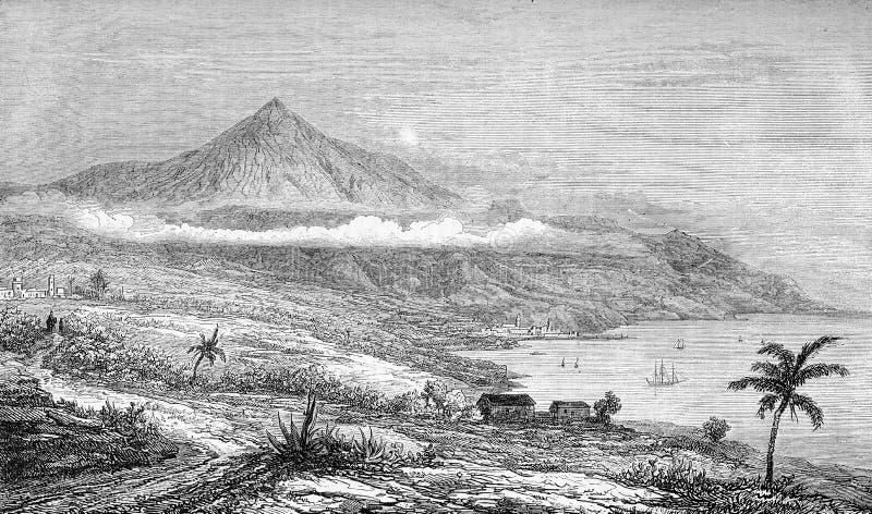 Канарские островы Тенерифе, пик Teide, старая печать иллюстрация вектора