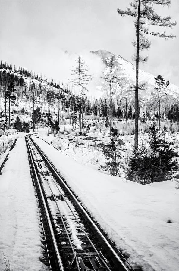 Канатная железная дорога на высоком Tatras в Словакии, бесцветной стоковые изображения