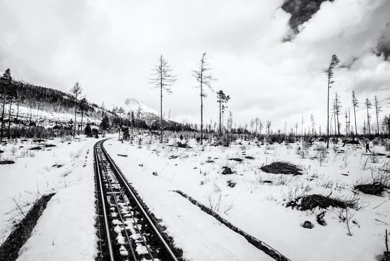 Канатная железная дорога на высоком Tatras в Словакии, бесцветной стоковое фото rf