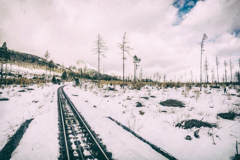 Канатная железная дорога на высоком Tatras в Словакии, сетноом-аналогов фильтре стоковые фотографии rf