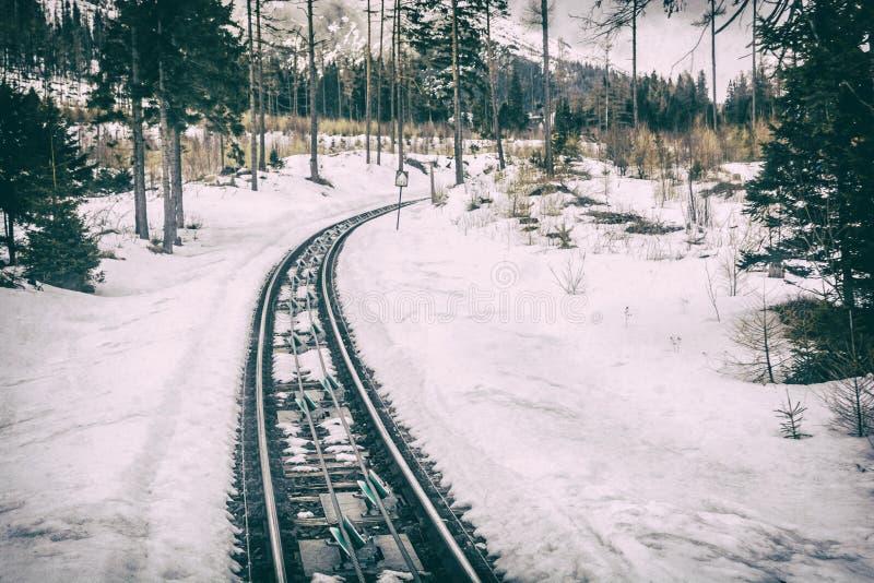 Канатная железная дорога на высоком Tatras в Словакии, сетноом-аналогов фильтре стоковые изображения rf