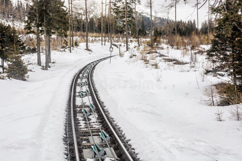 Канатная железная дорога на высоком Tatras в Словакии стоковое изображение