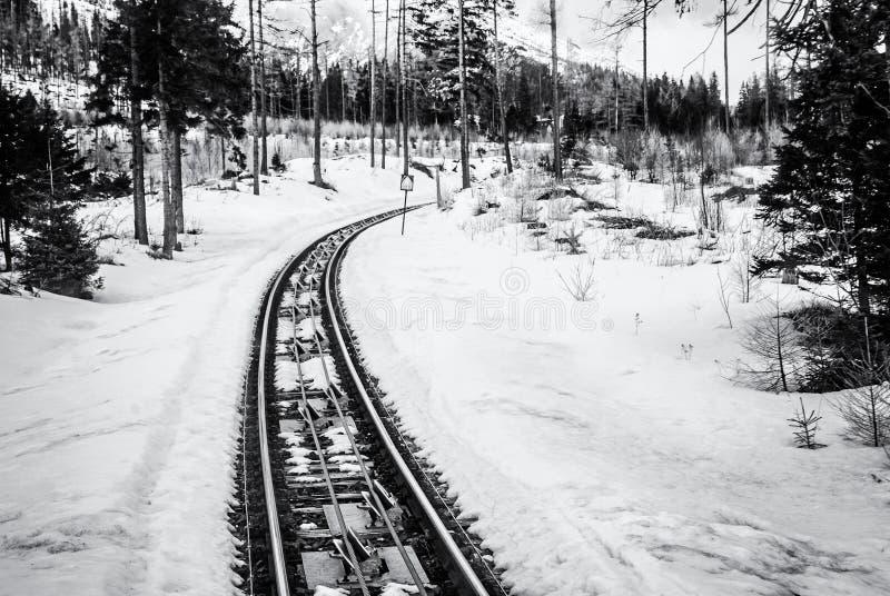 Канатная железная дорога на высоком Tatras в Словакии стоковое фото rf