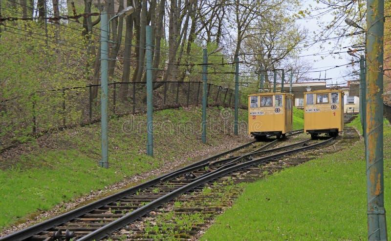 Канатная железная дорога Zaliakalnis в Каунасе, Литве стоковое изображение rf