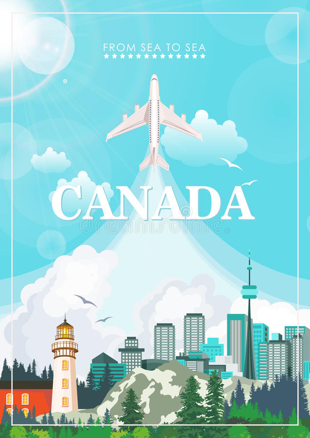 Канада Канадская иллюстрация вектора Открытка перемещения иллюстрация вектора