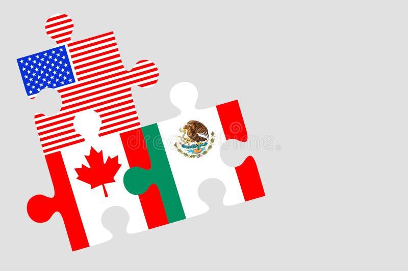 Канада, Мексика и флаг США части головоломки иллюстрация вектора