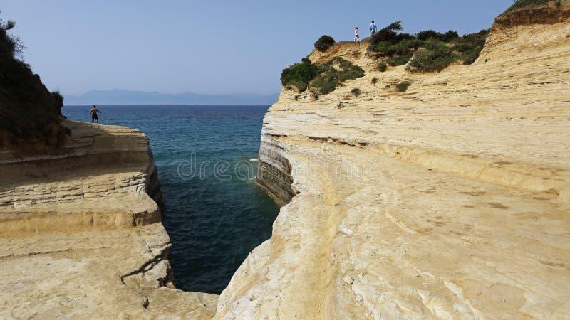 Канал влюбленности в Sidari, Корфу, Греции стоковая фотография rf