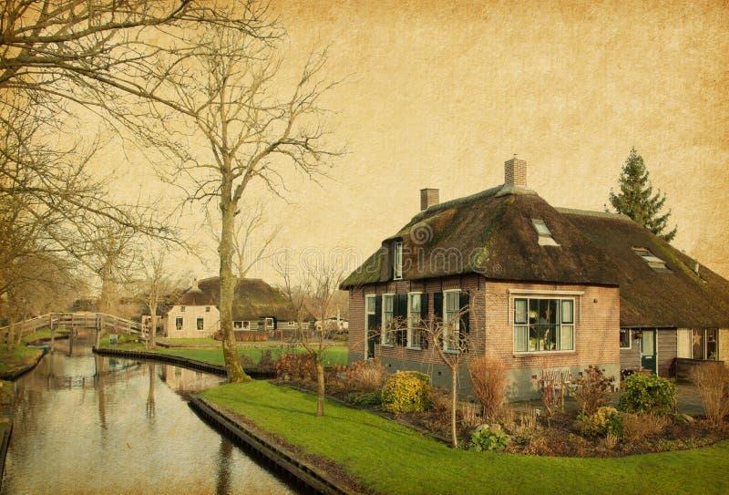 Канал в Giethoorn стоковое фото