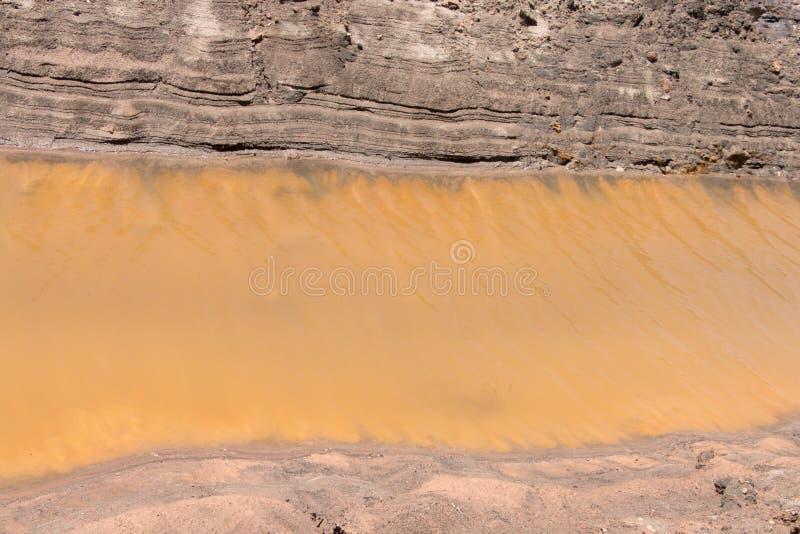 Канал побережья почвы предпосылки с желтой водой стоковое фото