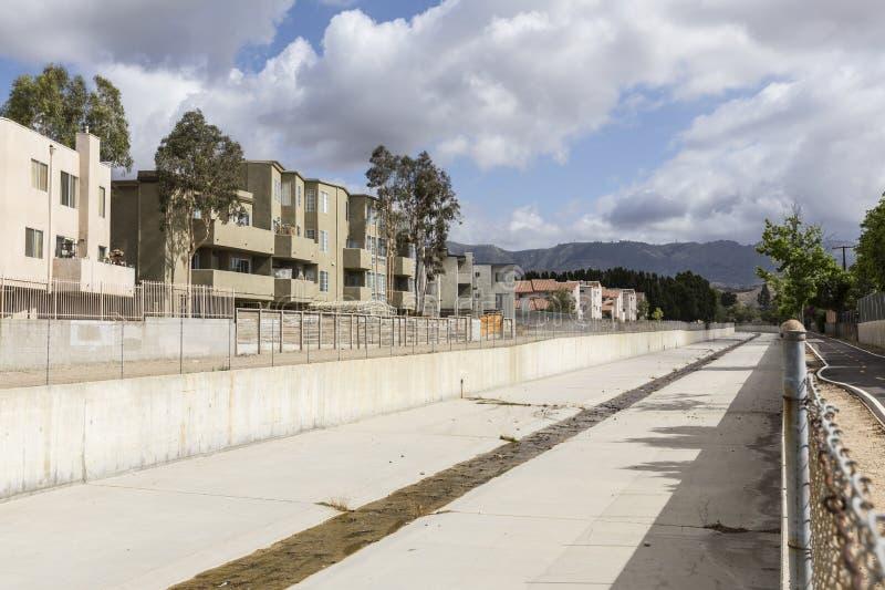 Канал регулирования паводковых вод Los Angeles County стоковое изображение
