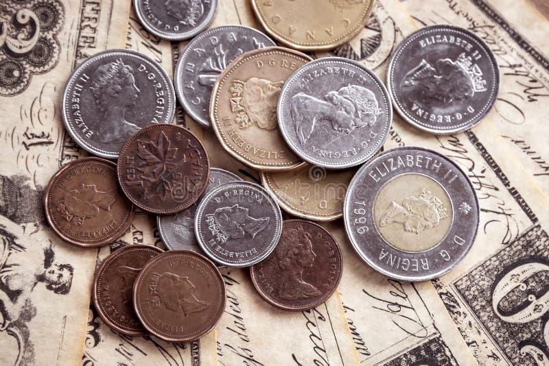 канадские монетки стоковые изображения