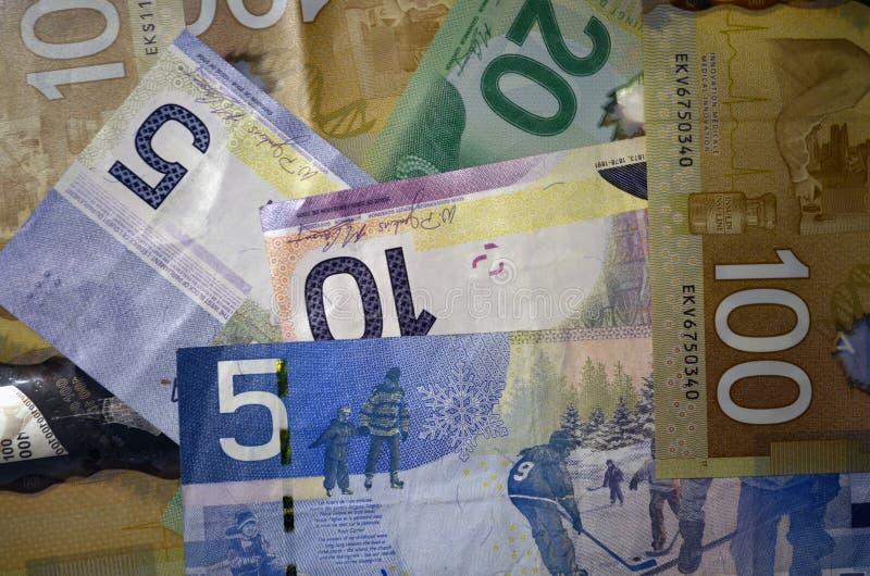 Канадские доллары валюты деноминации 5, 10, 20 и 100 стоковые фотографии rf