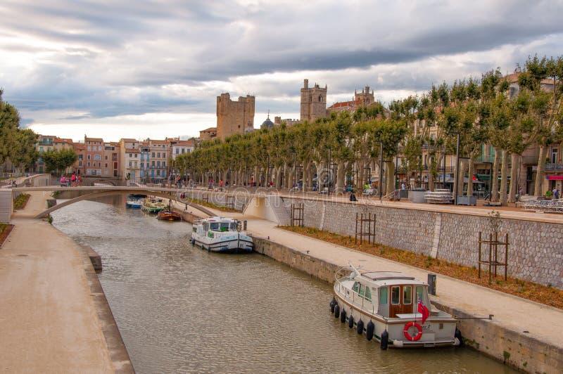 Канал de Ла robinie, Нарбонна стоковые фотографии rf