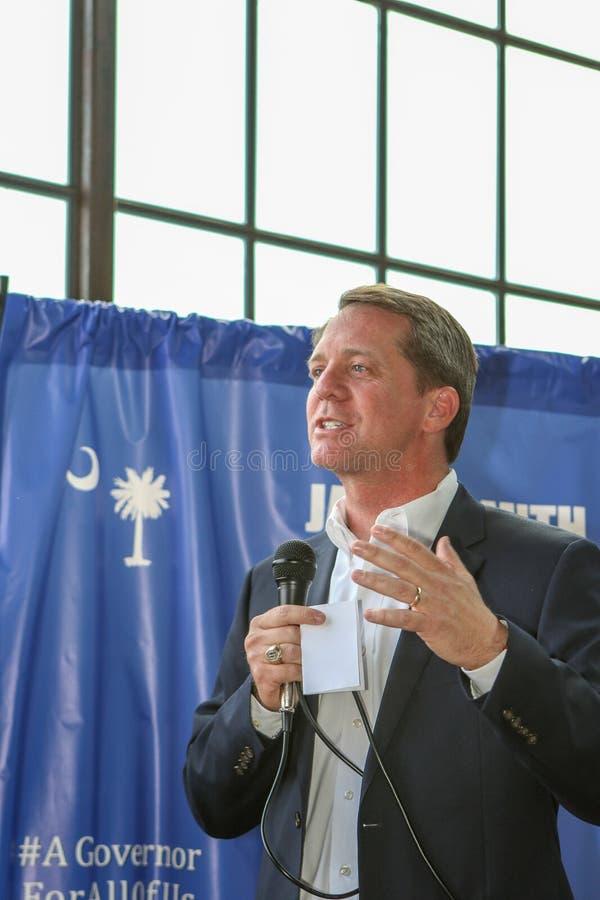 Кандидат в губернаторы Джеймс Смит Южной Каролины демократичный стоковые фото