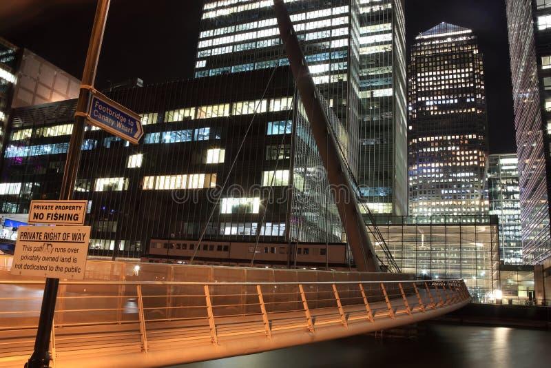 канереечная ноча footbridge к причалу стоковое изображение