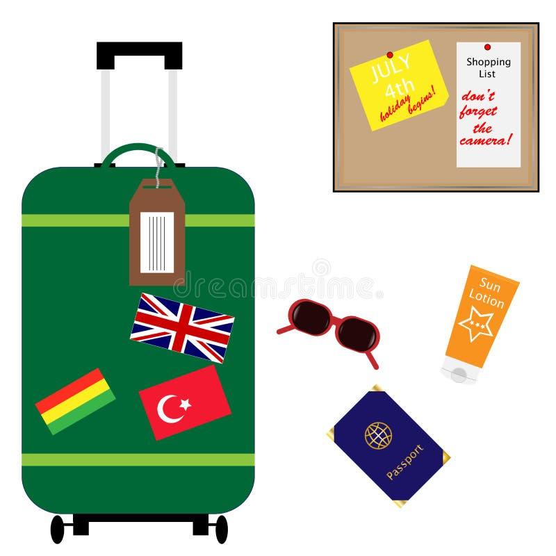 каникула лета чемодана праздника вспомогательного оборудования бесплатная иллюстрация