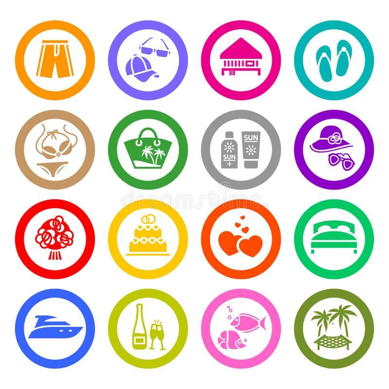 Каникула, перемещение & воссоздание, установленные иконы бесплатная иллюстрация
