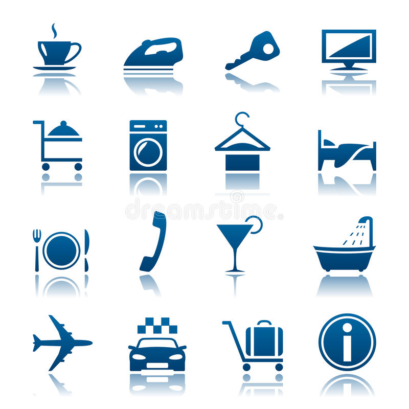каникулы иконы гостиницы установленные иллюстрация штока