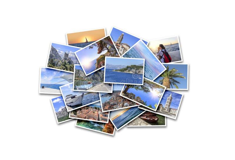 Каникулы моря, перемещение и интересные места летом Коллаж фото на белой предпосылке стоковое фото