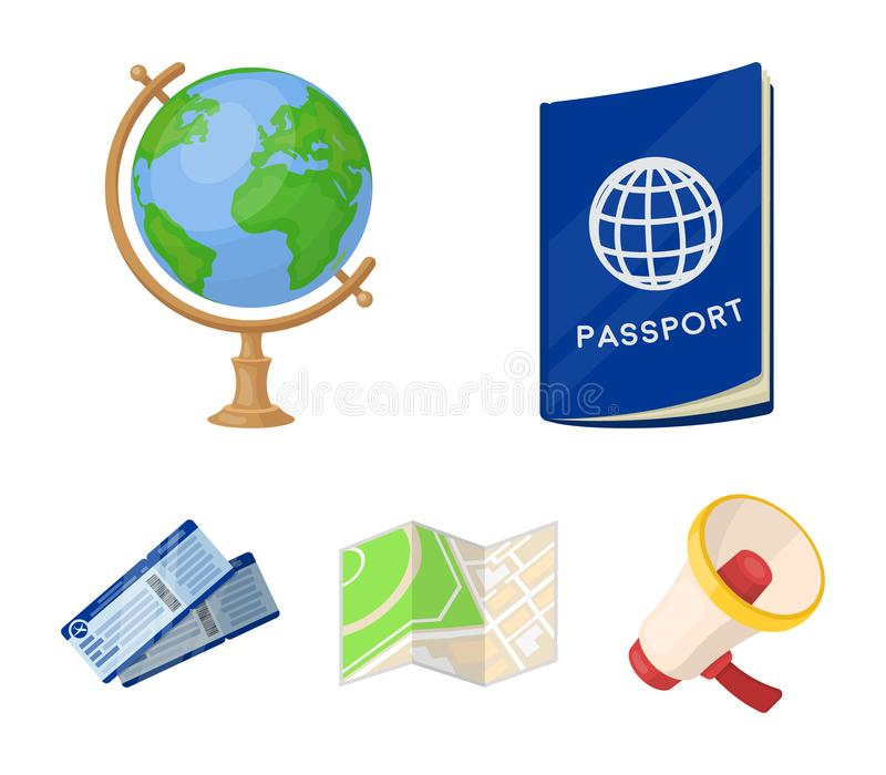 Каникулы, перемещение, пасспорт, глобус Значки остатков и собрания перемещения установленные в шарже вводят запас в моду символа  иллюстрация вектора