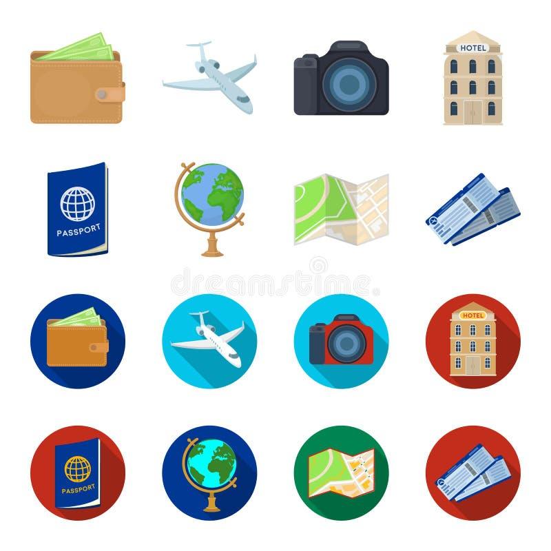 Каникулы, перемещение, пасспорт, глобус Значки остатков и собрания перемещения установленные в шарже, плоском запасе символа вект иллюстрация штока