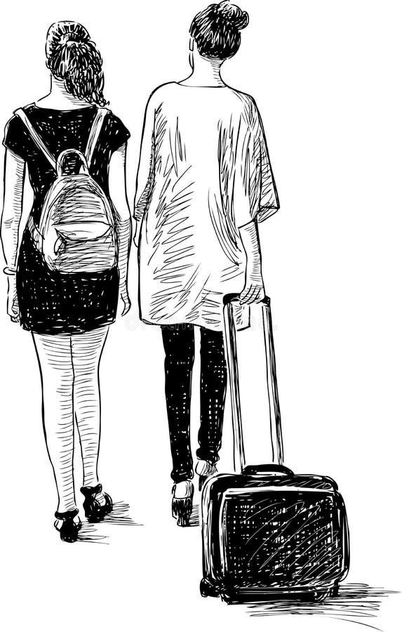 каникула момента девушок счастливая бесплатная иллюстрация