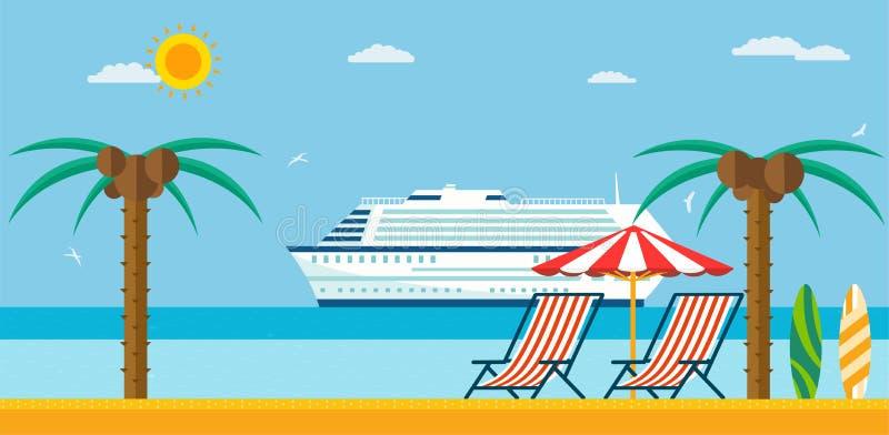 Каникулы и перемещение Пляж моря с lounger и зонтиком иллюстрация штока