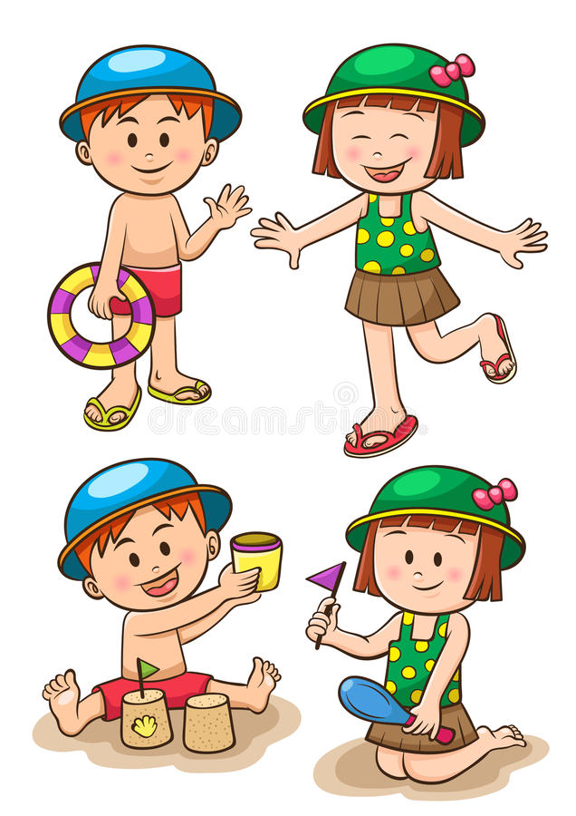 Каникулы моря детей Девушки и мальчики играя на пляже иллюстрация вектора