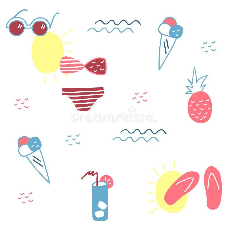 Каникулы моря Милой нарисованный рукой комплект лета элементов бесплатная иллюстрация