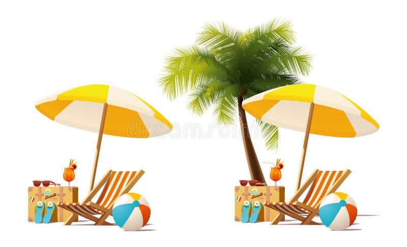 Каникулы перемещения вектора и пляжа лета ослабляют значок иллюстрация штока