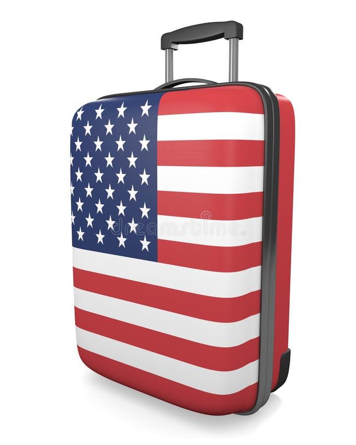 Каникулы Соединенных Штатов и концепция назначений перемещения флага покрасили чемодан бесплатная иллюстрация
