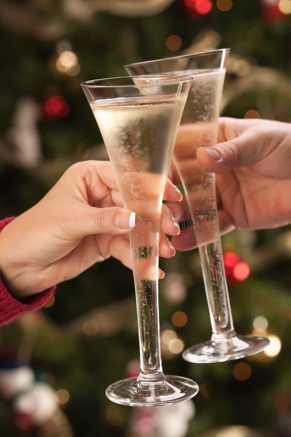 каннелюры шампанского укомплектовывают личным составом toasting женщина стоковые изображения rf