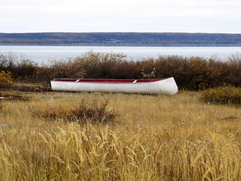 Каноэ инуита отдыхая на траве осенью Kuujjuaq стоковое фото rf