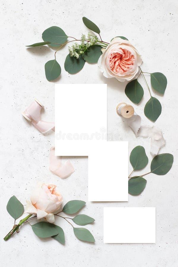 Канцелярские принадлежности свадьбы, сцена модель-макета дня рождения Пустые поздравительные открытки, ленты шелка, листья эвкали стоковая фотография rf