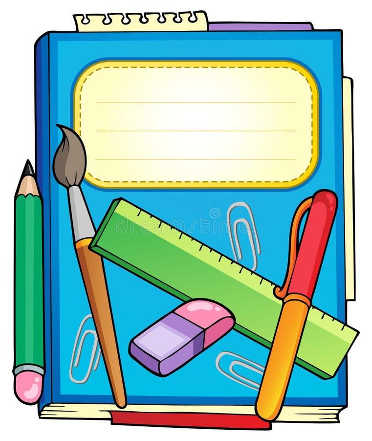 канцелярские принадлежности школы блокнота иллюстрация вектора
